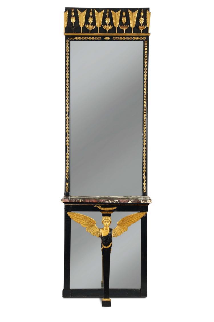 console a gamba centrale impero in legno ebanizzato e dorato. Black Bedroom Furniture Sets. Home Design Ideas