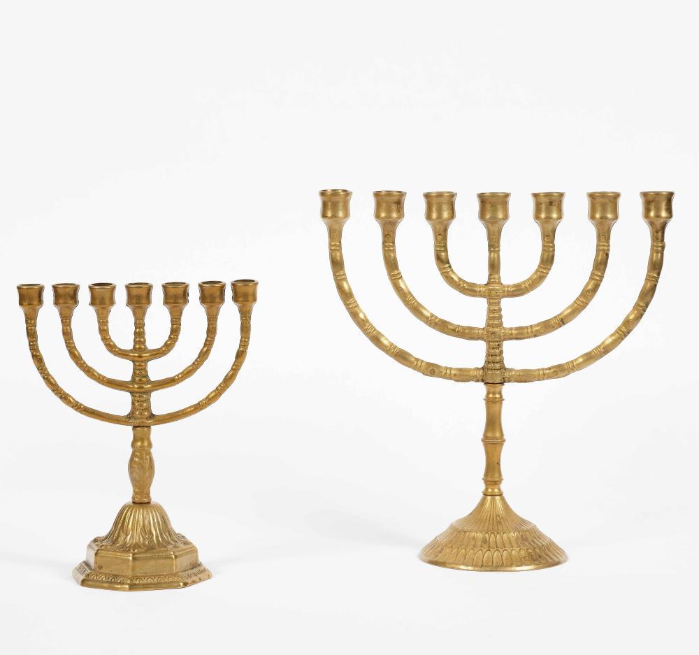 Due Menorah in bronzo dorato, XX secolo
