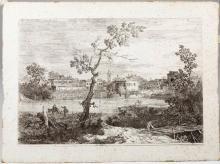 Giovanni Antonio Canal detto Il Canaletto (Venezia 1697-1768), Veduta di un villaggio sulla riva del fiume(il Dolo)