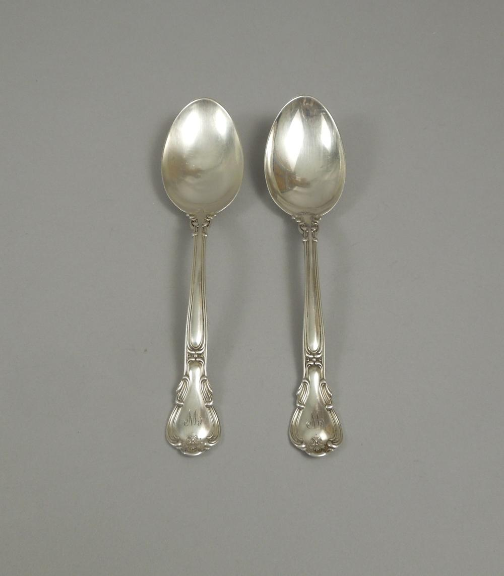 (2) GORHAM CHANTILLY STERLING SILVER SERVING SPOONS.