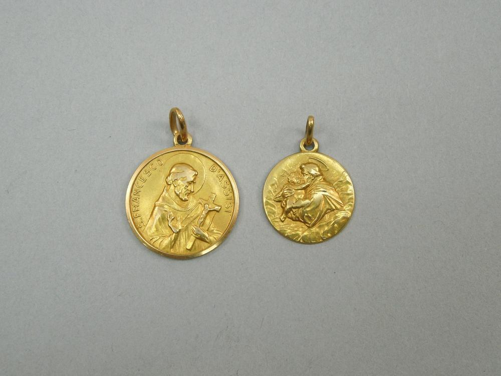 (2) 18K YELLOW GOLD RELIGIOUS PENDANTS.