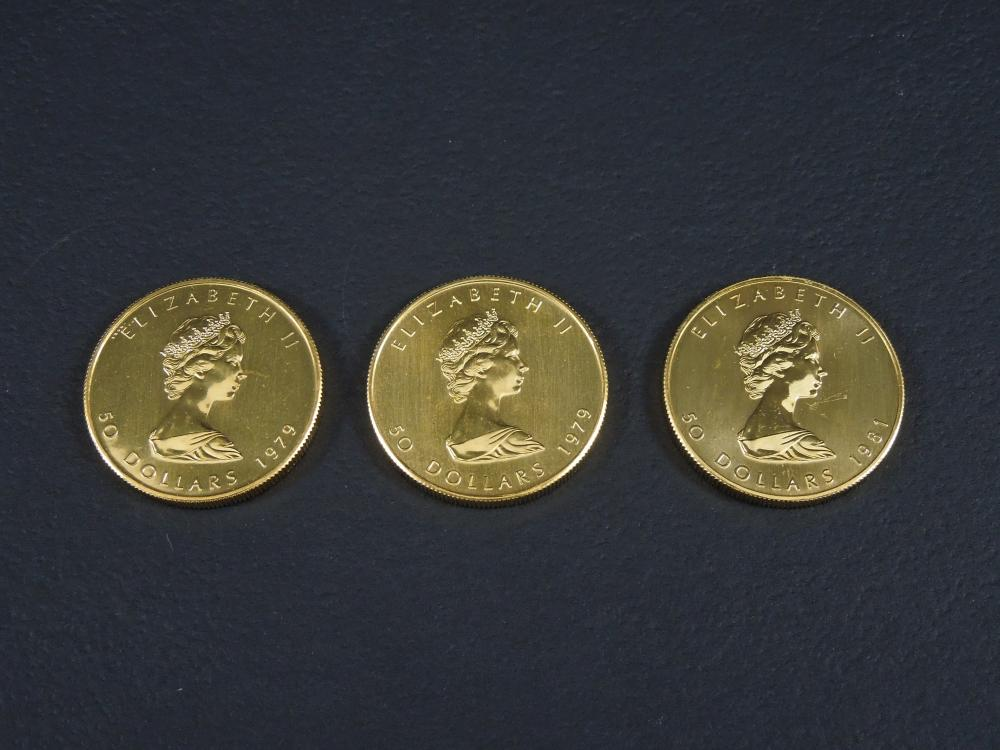 (3) CANADA MAPLE LEAF $50 GOLD COINS.