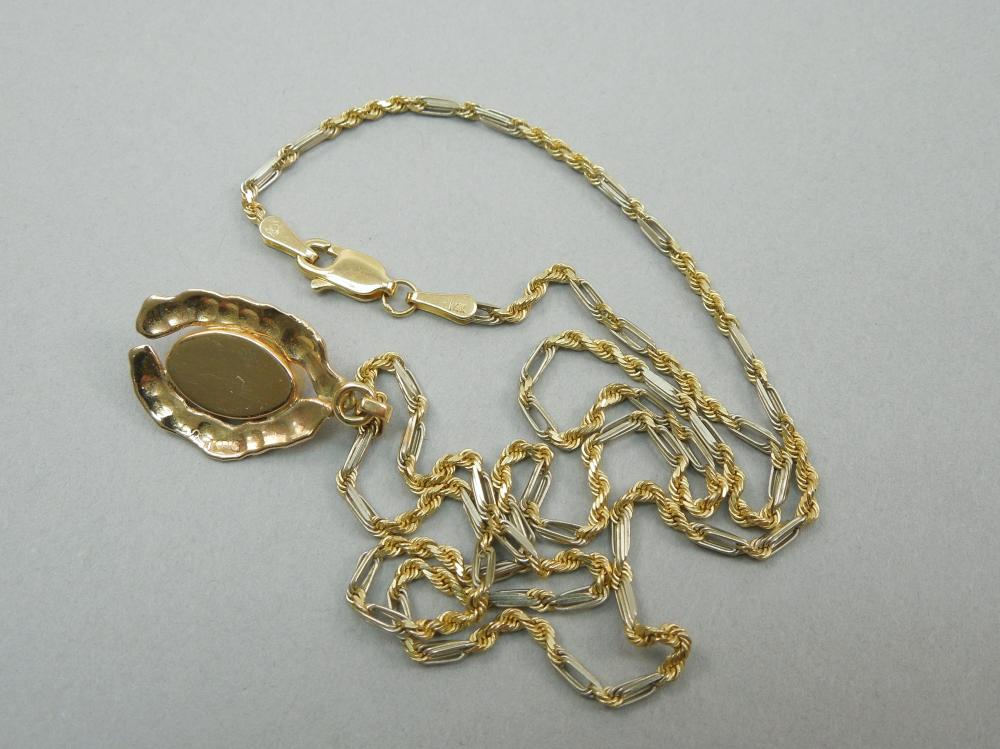 14K YELLOW GOLD CHAIN WITH PENDANT.