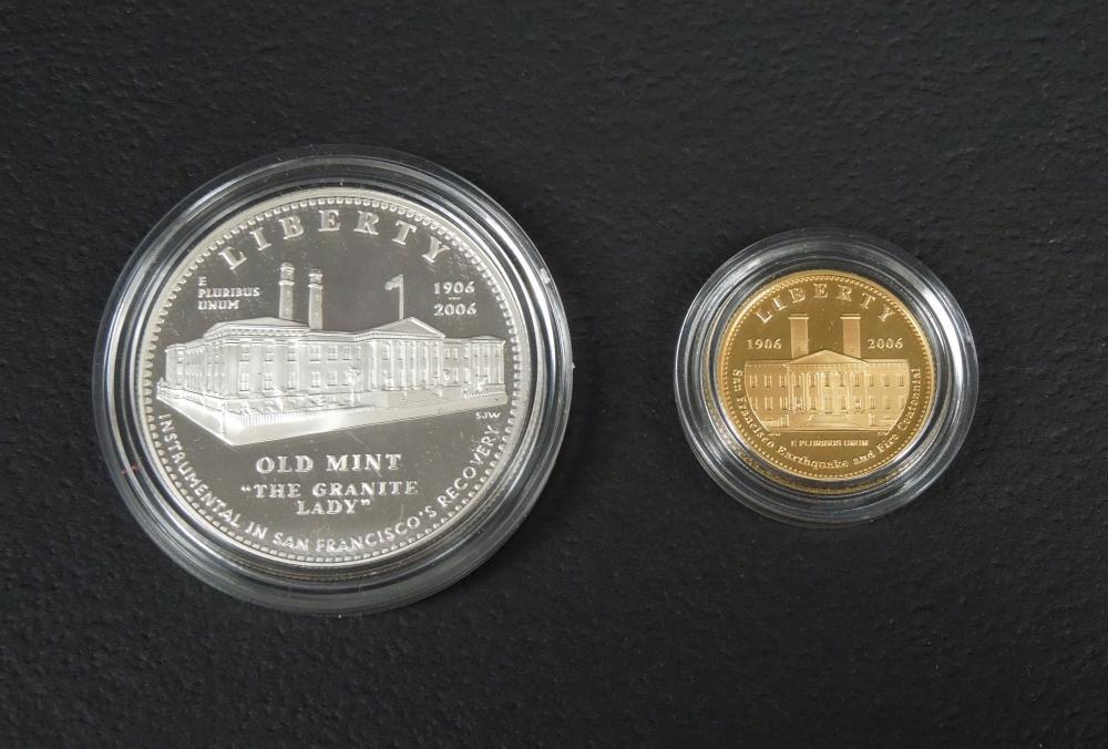 2006 SAN FRANCISCO $5 GOLD COIN & $1 SILVER COIN.
