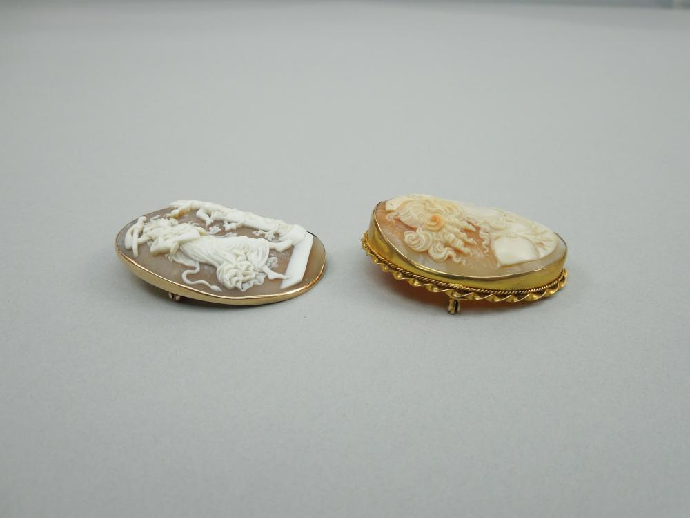 (2) 10K YELLOW GOLD CAMEO BROOCHES.
