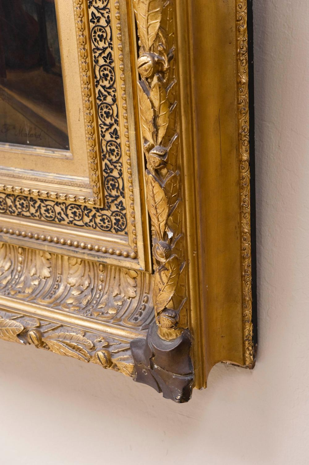 19TH C. EXQUISITE LARGE GOLD LEAF FRAME WITH PAINTING.