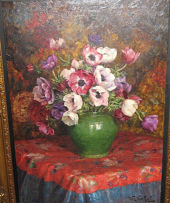 VAN RIET WILLY (1882 - 1927) 'Groene vaas'. Olie