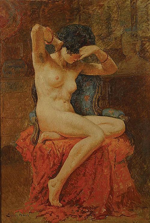 BAES EMILE (1879 - 1954) Naakt. Nu Olie op doek.