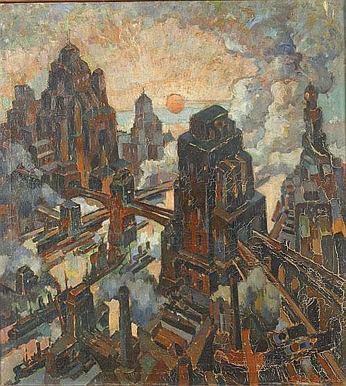 VAN DOOREN EDMOND (1895 - 1965) Futuristische stad