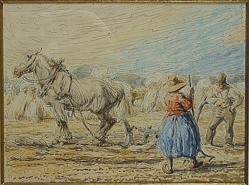 OST ALFRED (1884 - 1945) Boerenkoppel op het veld.
