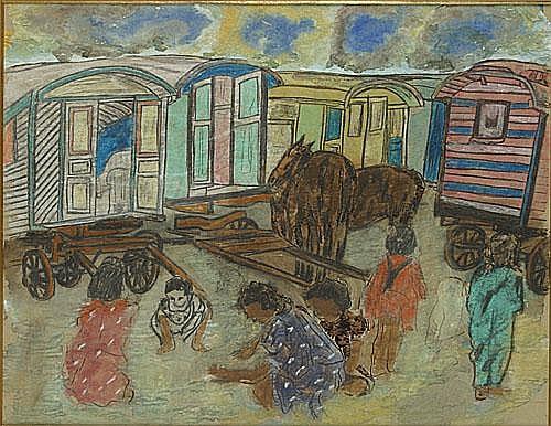 VERDEGEM JOS (1897 - 1957) Zigeunerkinderen bij de