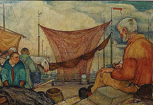 EEKMAN NICOLAS (1889 - 1973) Zittende vissers aan