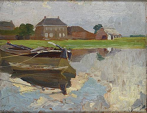 BUYSSE GEORGES (1864 - 1916) Dorp aan het water.