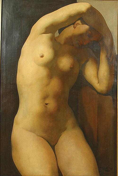 DELMOTTE MARCEL (1901 - 1984) Naakt. Nu Olie op