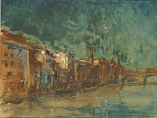 BASTIEN ALFRED (1873 - 1955) Zicht op Firenze. Vue