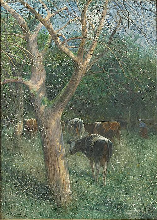 HAGEMANS MAURICE (1852 - 1917) Koeien in de