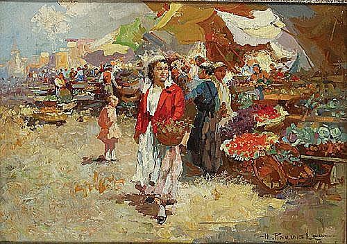 PAUWELS HENRI-JOSEPH (1903 - 1983) Markttafereel.