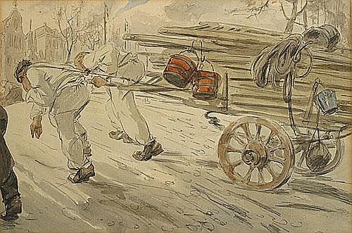 OST ALFRED (1884 - 1945) Bouwvakkers die een kar