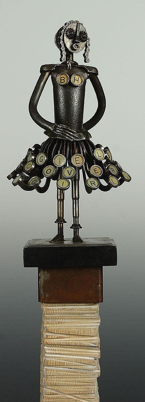 GIELS LUDO (1931 - ) 'Lady met bh op paal'.
