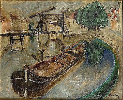 BOULEZ JULES (1889 - 1960) 'Waterloop met brug,