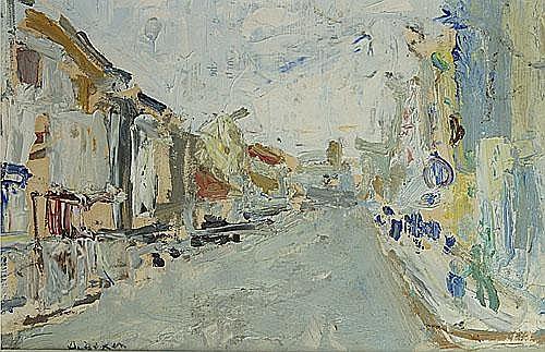 DE DEKEN ALBERT (1915 - 2003) Straat in het dorp.
