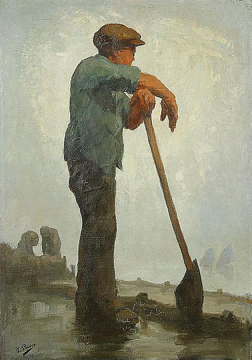 PEISER KURT (1887 - 1962) De dijkmaker. Le diguer