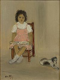 FREY ALICE (1895-1981) Kind met hondje. Enfant et