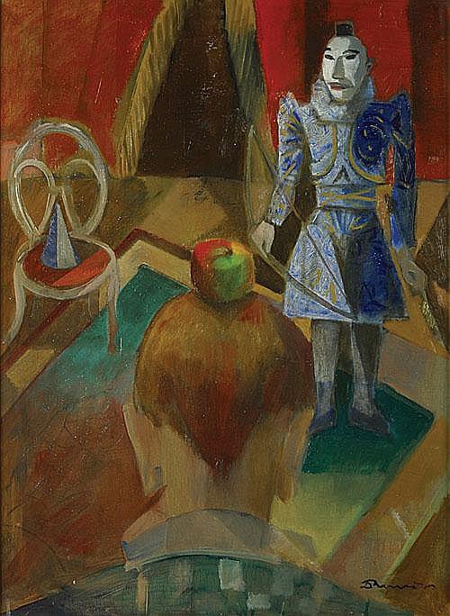 BERVOETS LEO (1892 - 1978) Clowns. Olie op paneel.