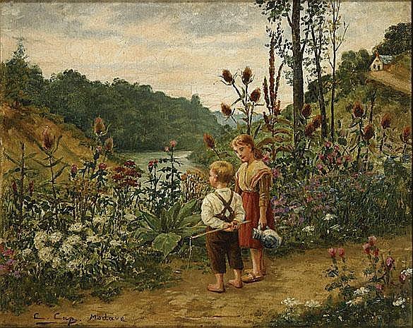 CAP CONSTANT (1842 - 1915) 'Deux enfants à