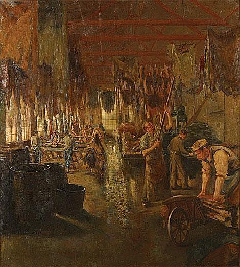ALBRACHT WILLEM (1861 - 1922) Leerlooiers. Atelier