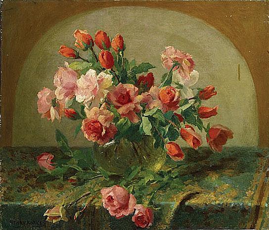 KOKKEN HENRY (1860 - 1941) Compositie met rozen.