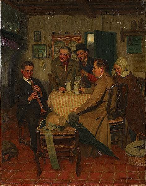 KOKKEN HENRY (1860 - 1941) 'En congé'. Olie op