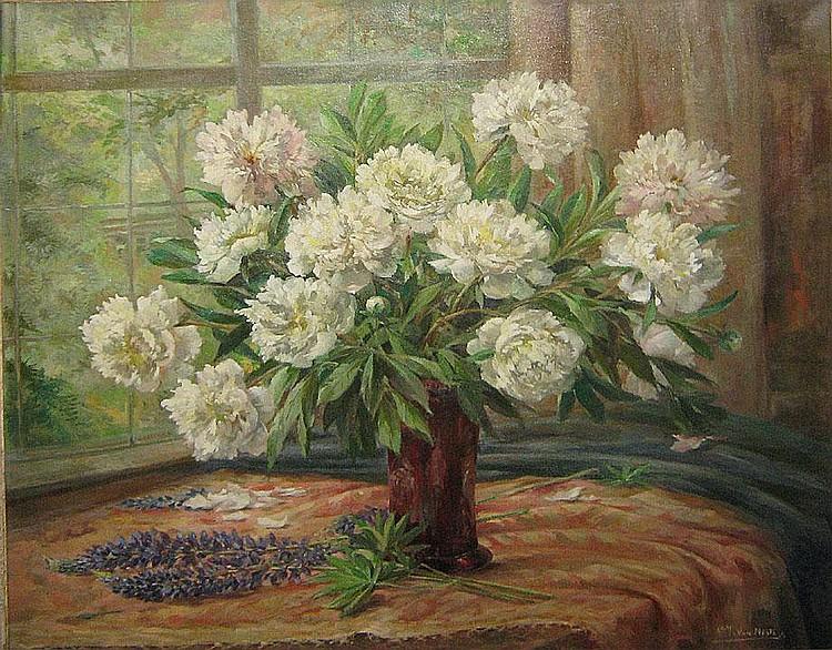 VAN NESTE ADOLF1874 - 1969 Witte bloementuil