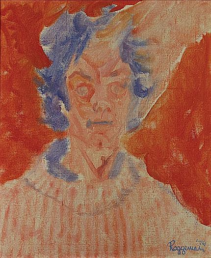 ROGGEMAN FONS Zelfportret Autoportrait Olie op