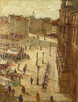 BERVOETS LEO1892 - 1978 Grote Markt te Antwerpen
