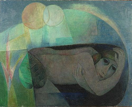 WILS LYDIA (1924-1982) 'Forme Souterraine'. Olie