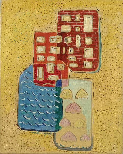 MILO JEAN (1906-1993) 'Maisons au bord de la mer'.