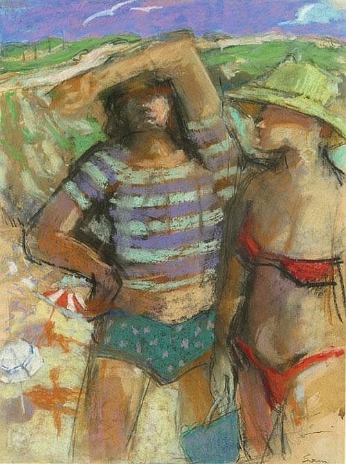 DILLEMANS SAM (1965-) Strand. Plage Pastel /