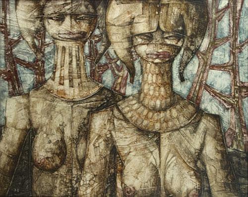VAN TUERENHOUT JEF (1926-2006) Twee vrouwen. Deux