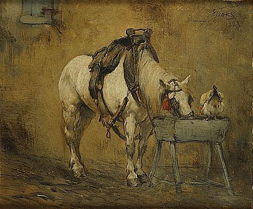 JOORS EUGEEN (1850 - 1910) Paard op rust. Cheval