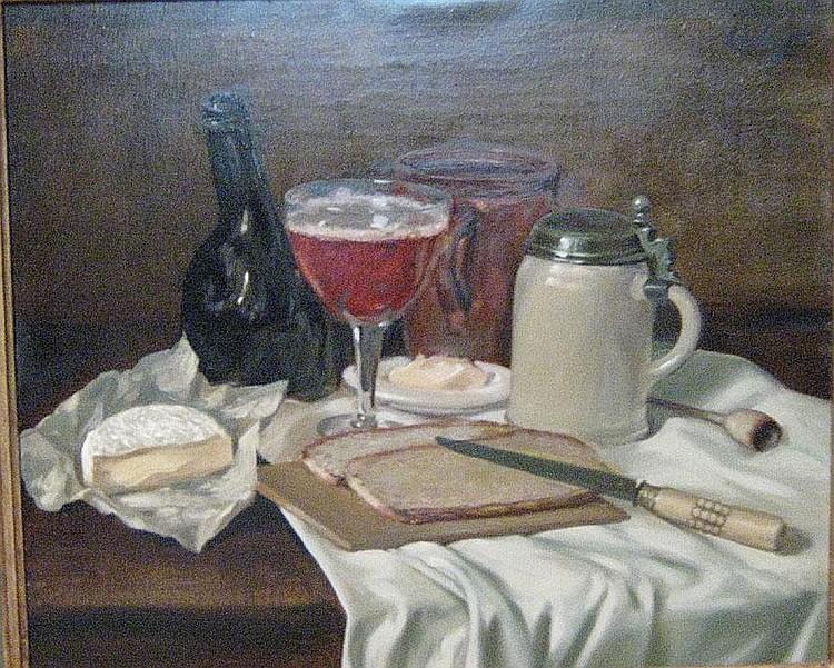 SEBREGTS LODE (1906 - ) 'Het ontbijt'. Olie op