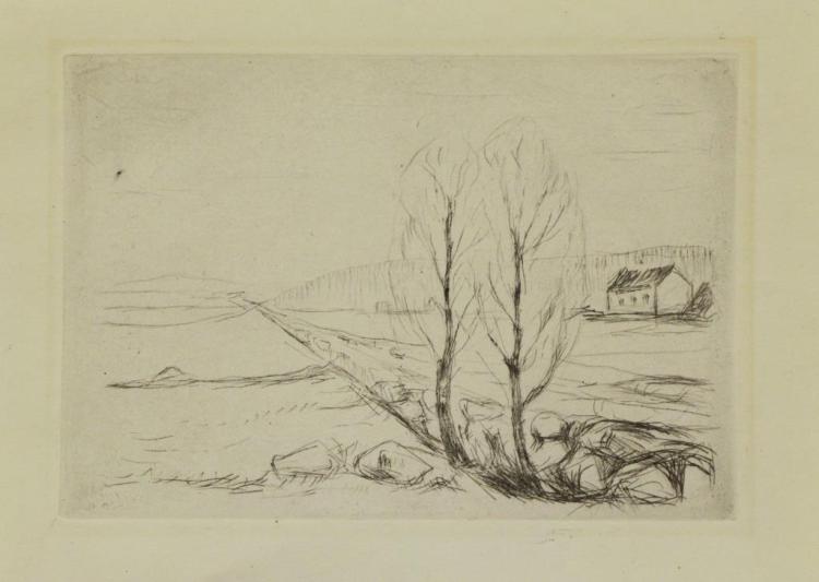 MUNCH, Edvard. Etching. Norwegian Landscape.