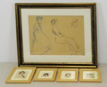 STEINLEN, Theophile. Lot of 5 Works on Paper.