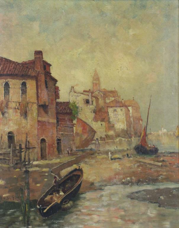 WEYL, Max. Oil on Canvas. Seaside Village.