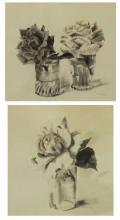 TRUEX, Van Day. Two Ink Wash Drawings on Paper.