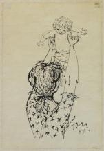 MARTIN, Fletcher. Ink on Japon Paper. Mother and