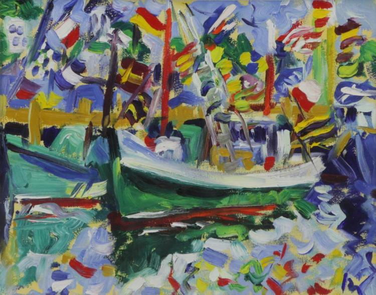 Expressionist Oil on Board. Boats in Harbor.