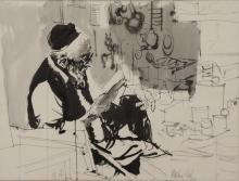 GAT, Moshe. Ink on Paper. Man Reading, 1971.