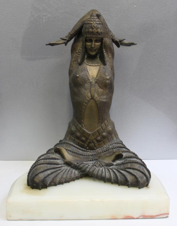 Bronze Ballet Dancer After Chiparus On Onyx Base