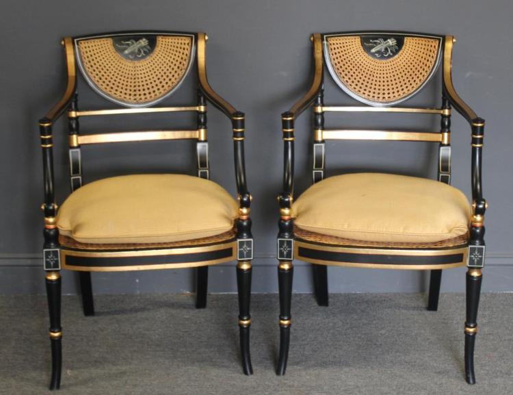 Pair of Regency Caned, Ebonised & Gilt Decorated